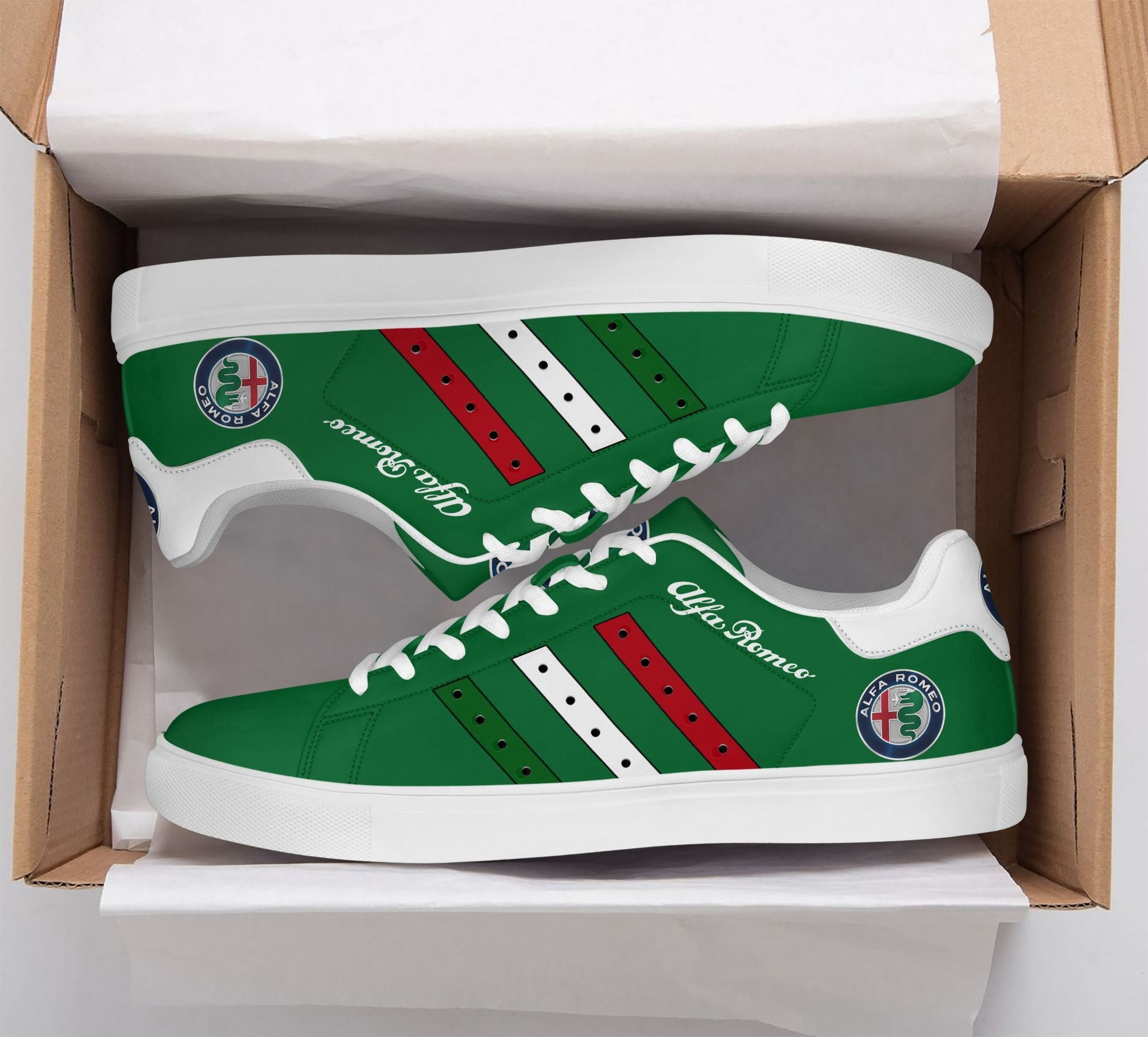 Alfa Romeo Color Stripe Lines in Green Stan Smith Shoes