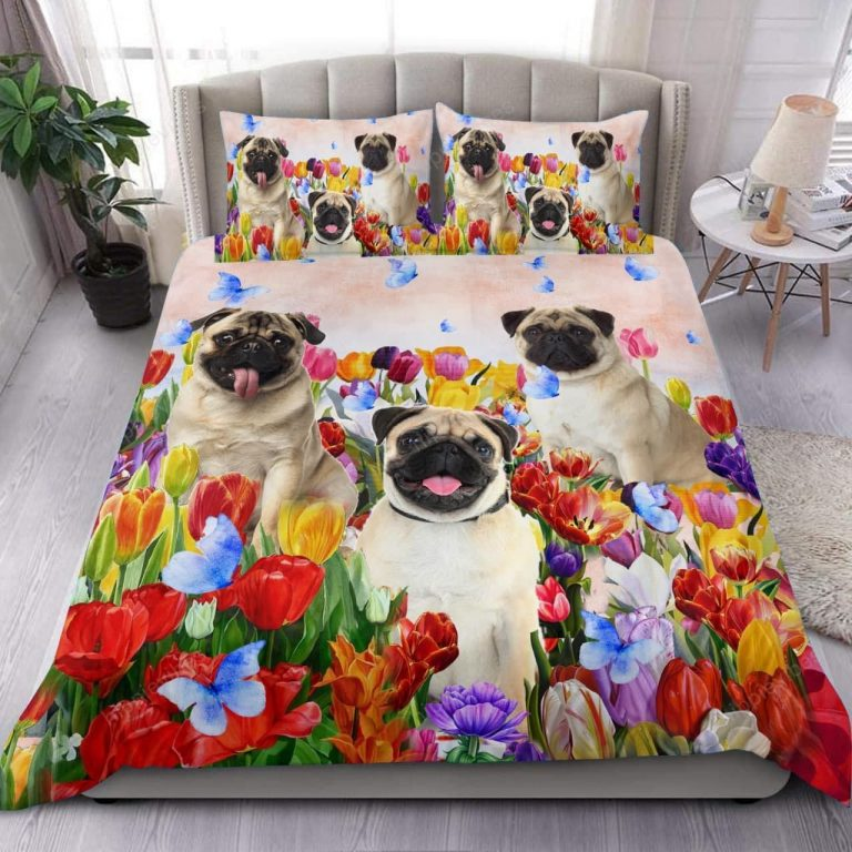 Pug Tulip Garden Bedding Set