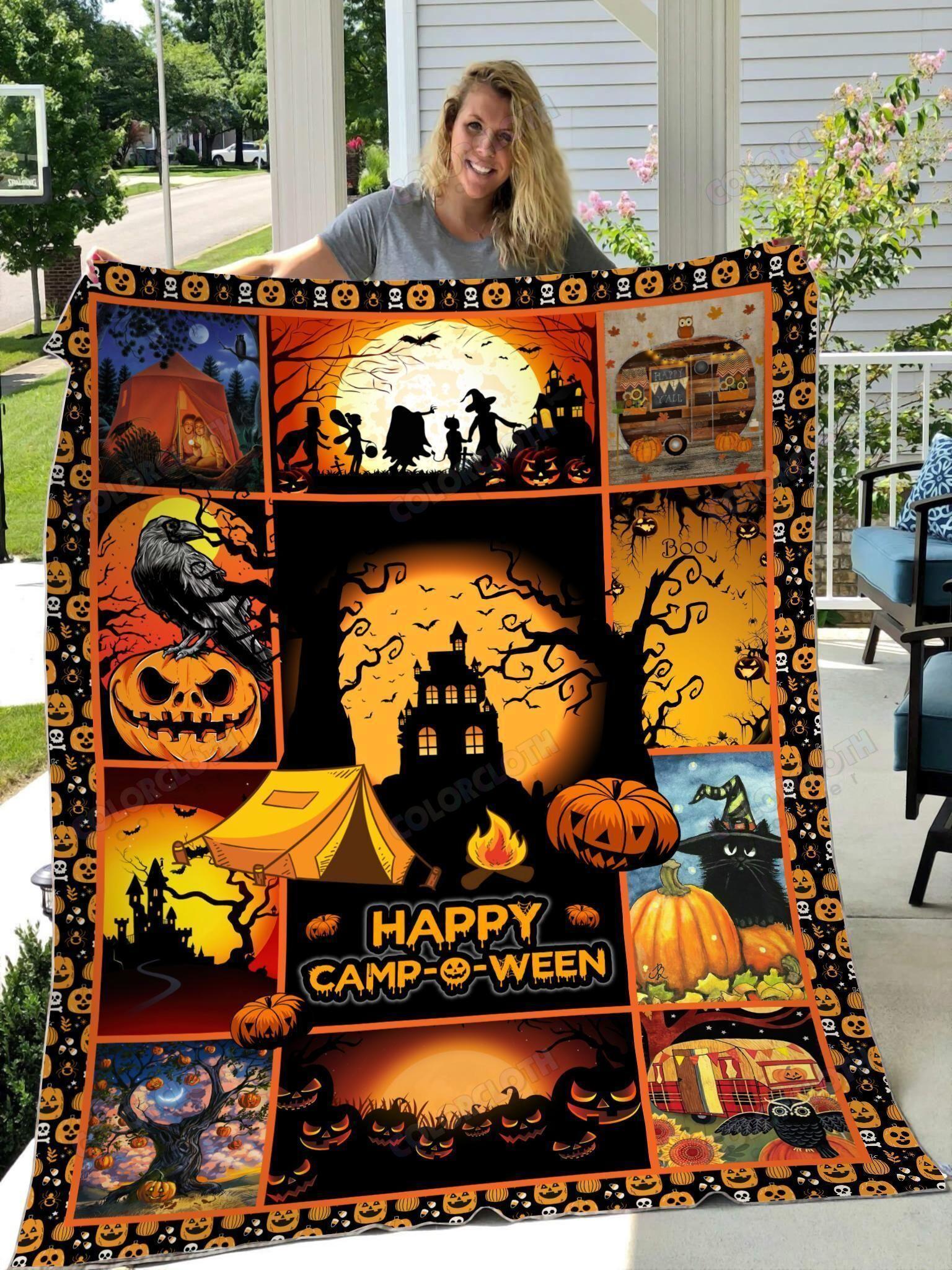 Beautiful Halloween Camping Fleece Blanket