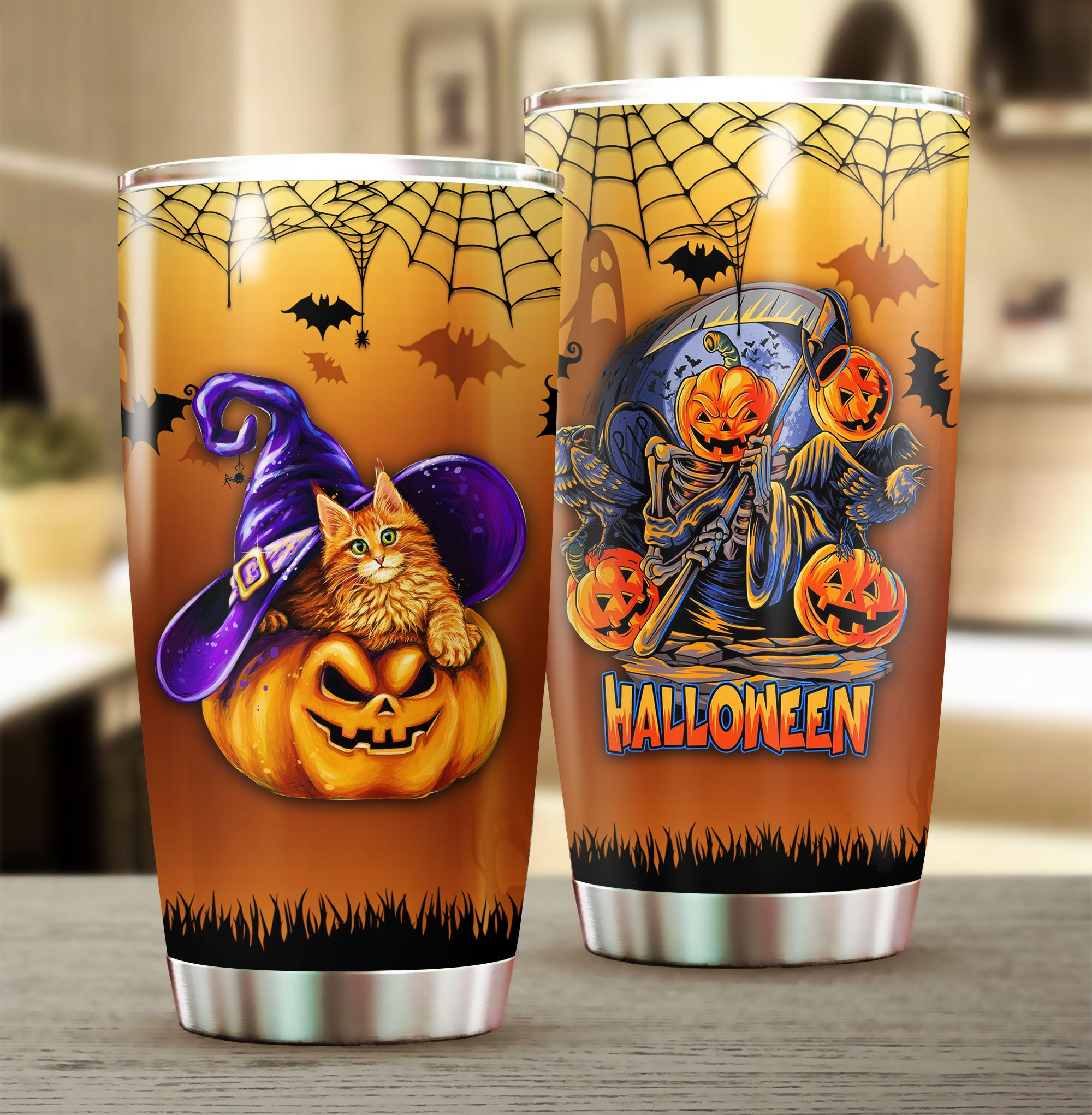 Happy Halloween pumpkin witch Stainless Steel Tumbler Cup