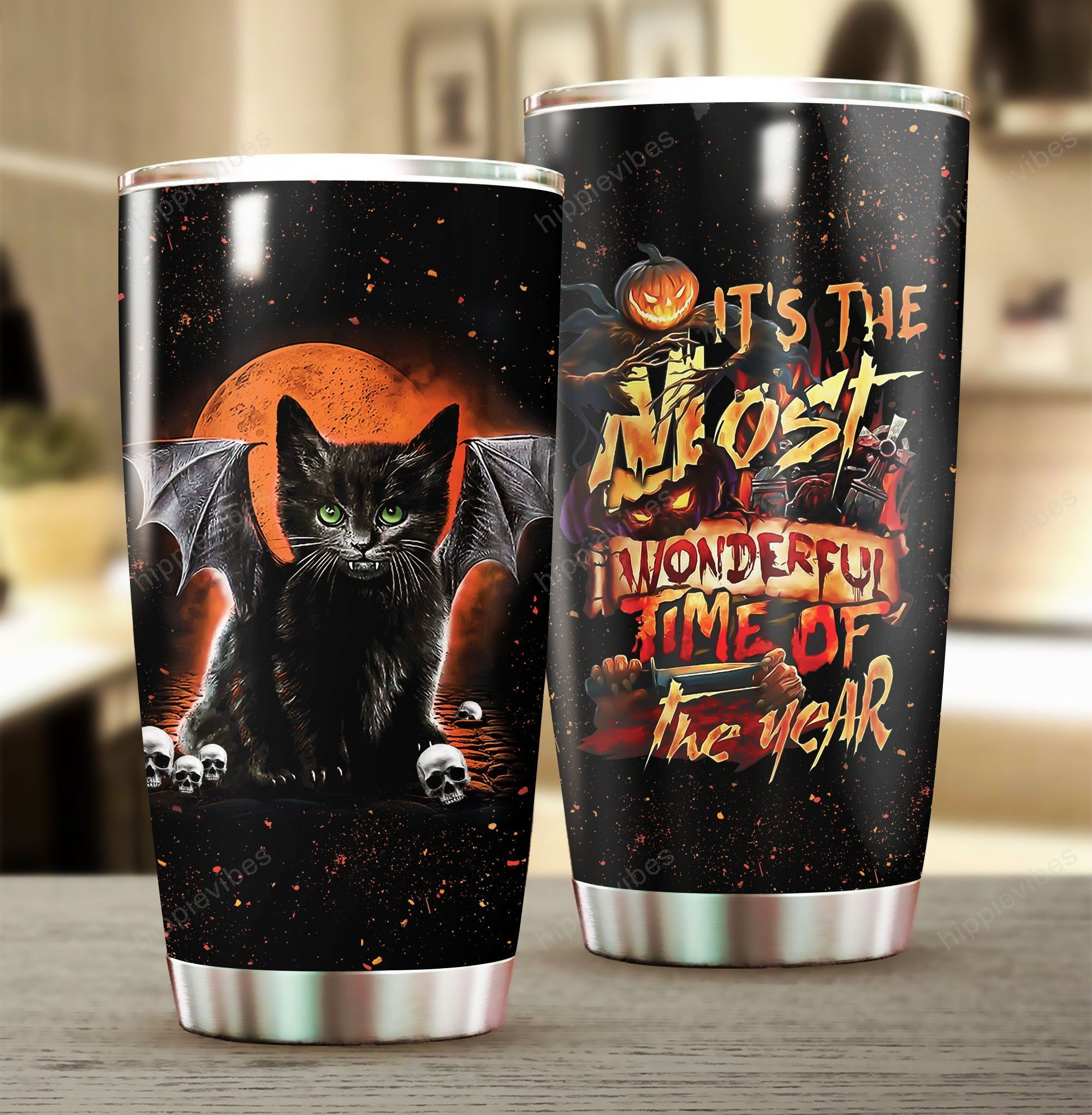 Black Cat The Most Wonderful Time Of The Year Halloween Tumbler