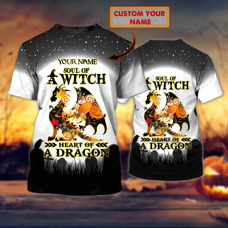 Personalized Name Dragon Halloween Soul Of A Witch Heart Of A Dragon 3D Tshirt