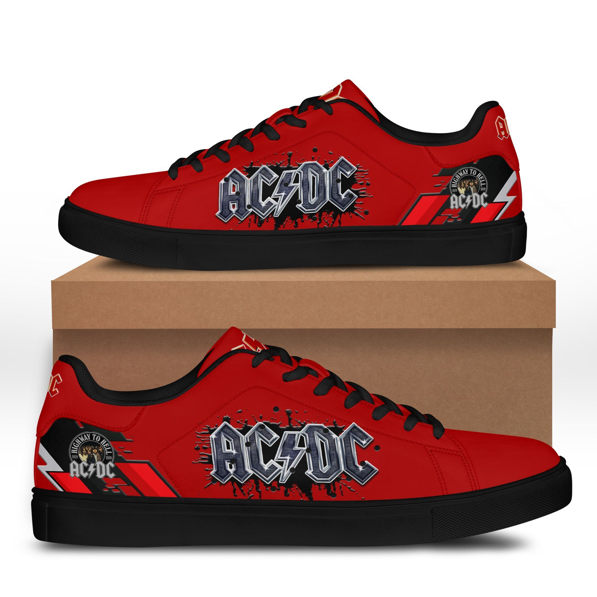 AC DC rock band black ink Stan Smith Shoes