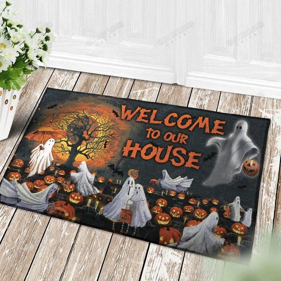 Welcome To Our House ghost pumpkin Happy Halloween Doormat