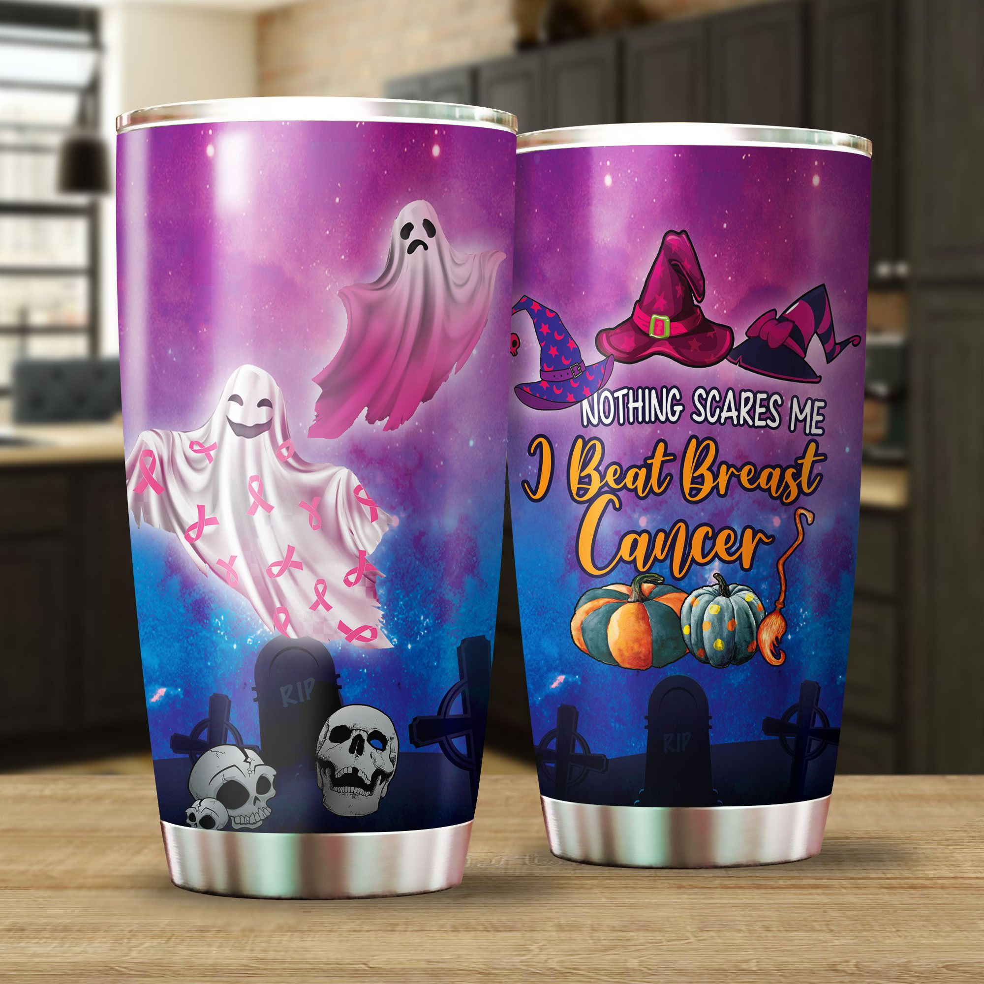 Nothing Scares Me I Beat Breast Cancer Halloween ghost Tumbler Cup