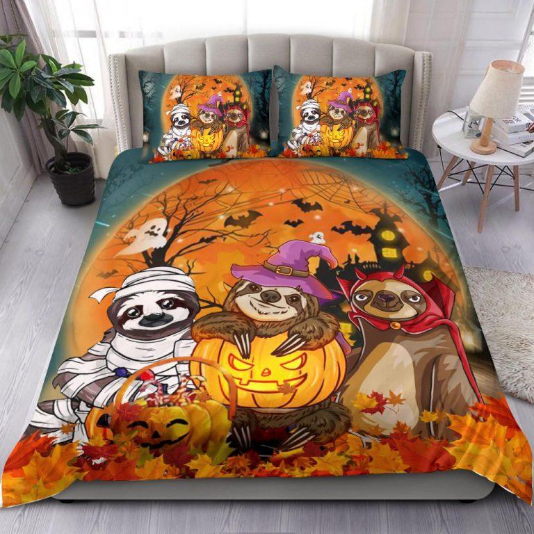 Sloth Costume Pumpkin Halloween Bedding Set
