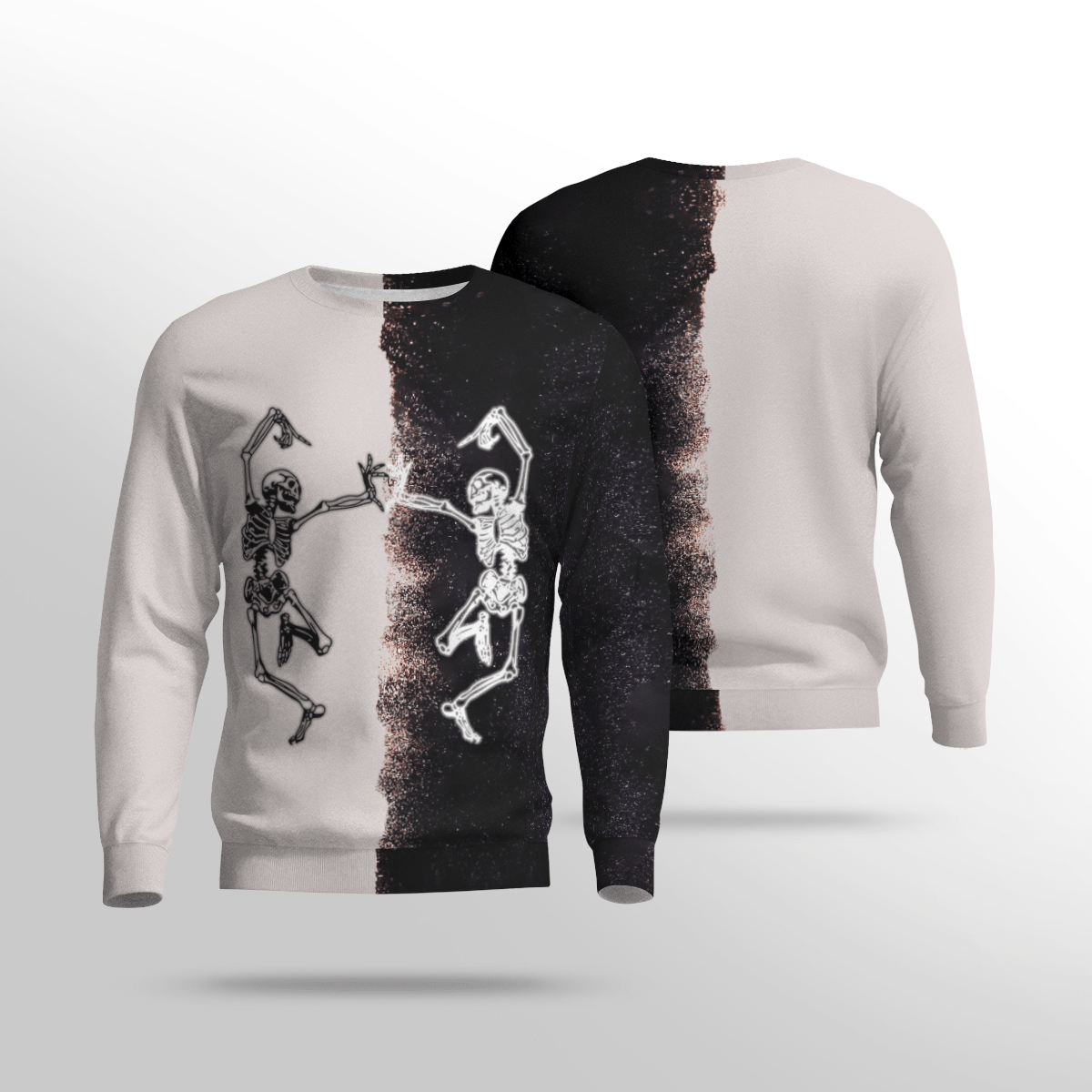 Skeleton Halloween Dance black and white Sweatshirt