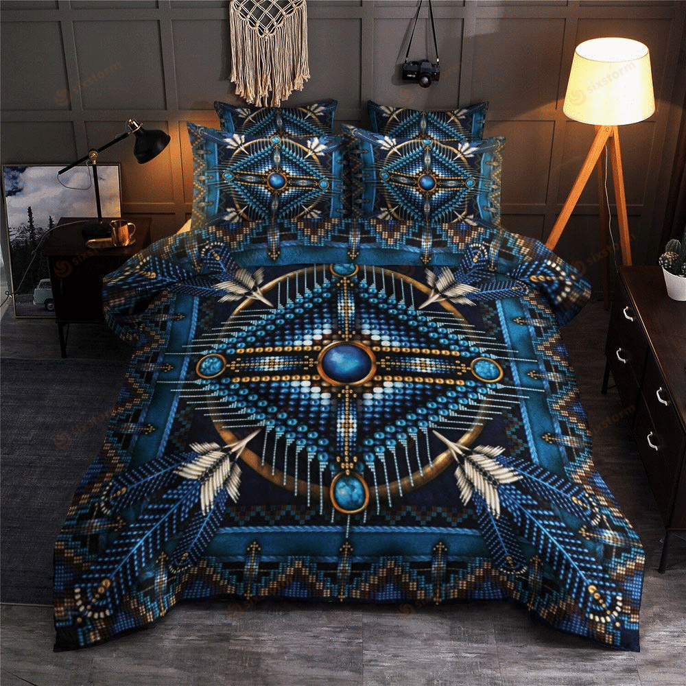 Native American Pattern Feathers Blue Bedding Sets