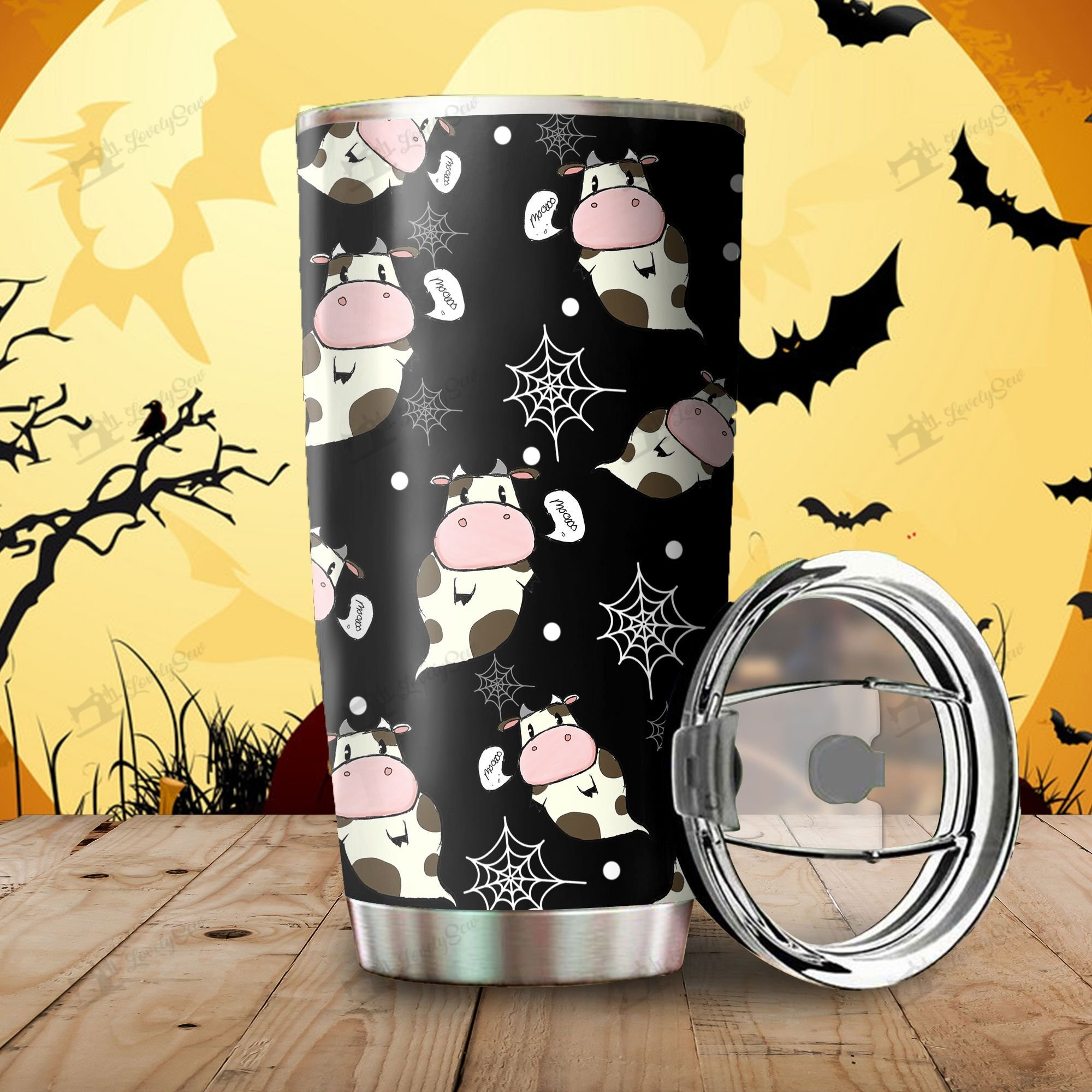 Halloween Ghost Cow Stainless Steel Tumbler Cup