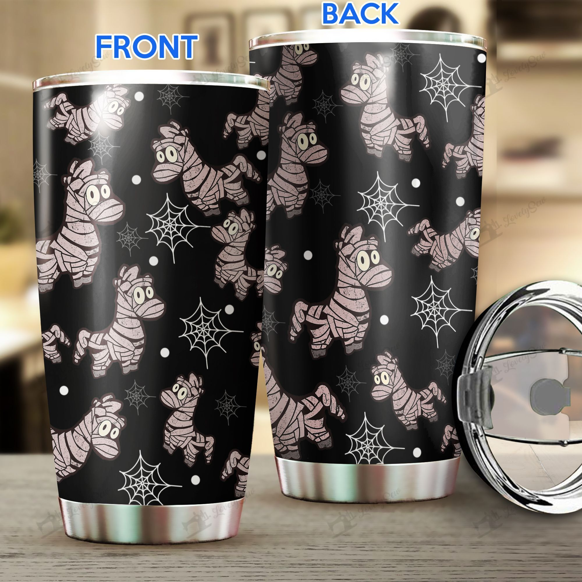 Halloween cute Mummy Horse Stainless Steel Tumbler Cup