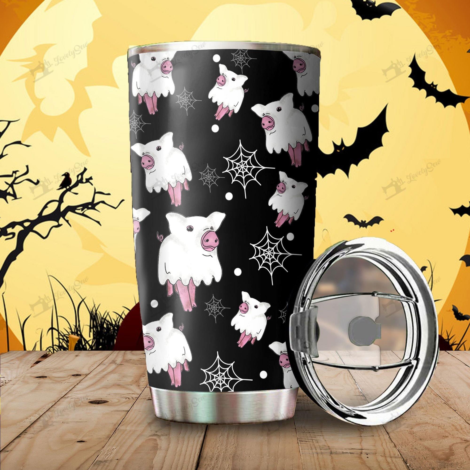 Halloween Ghost Pig Stainless Steel Tumbler Cup