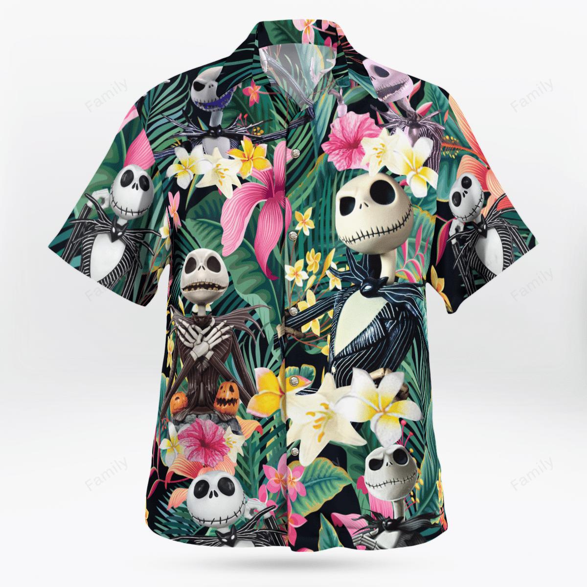 Jack Skellington Tropical Flower Hawaiian Shirt