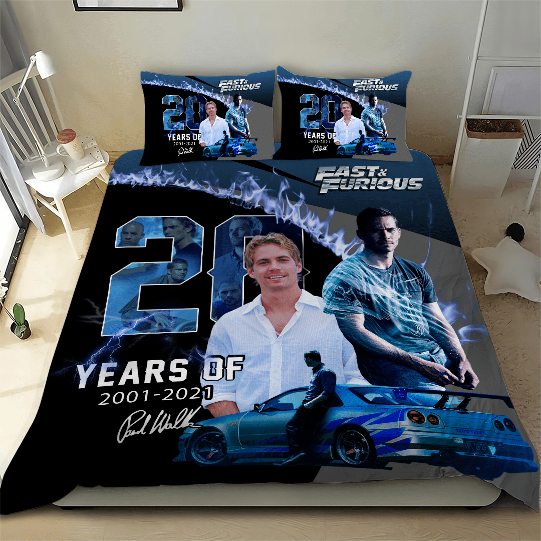Paul Walker Fast and Furious Limited Edition blue Bedding Set