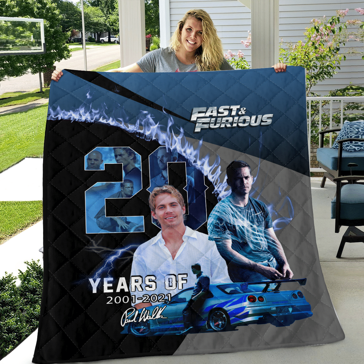 Paul Walker Fast and Furious Limited Edition blue Quilt Blanket