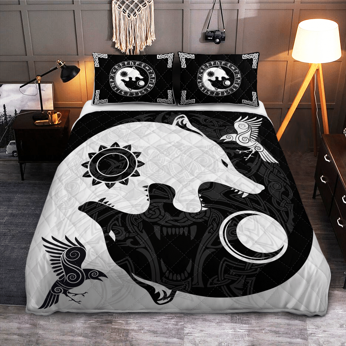 The Sons of Fenrir Hati and Skoll Viking Quilt Bedding Set