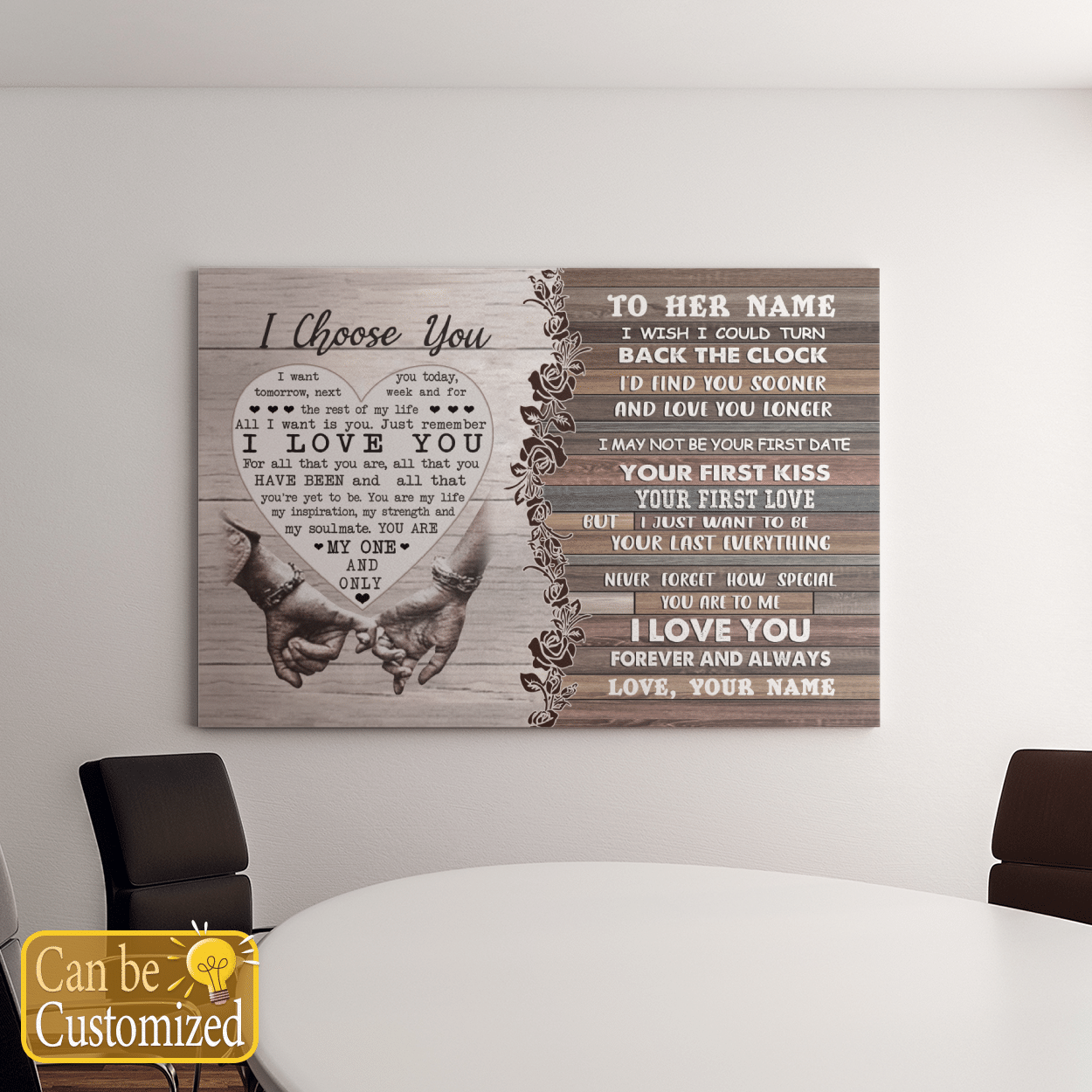 I CHOOSE YOU GREAT GIFT FOR WIFE BACK THE CLOCK POSTER