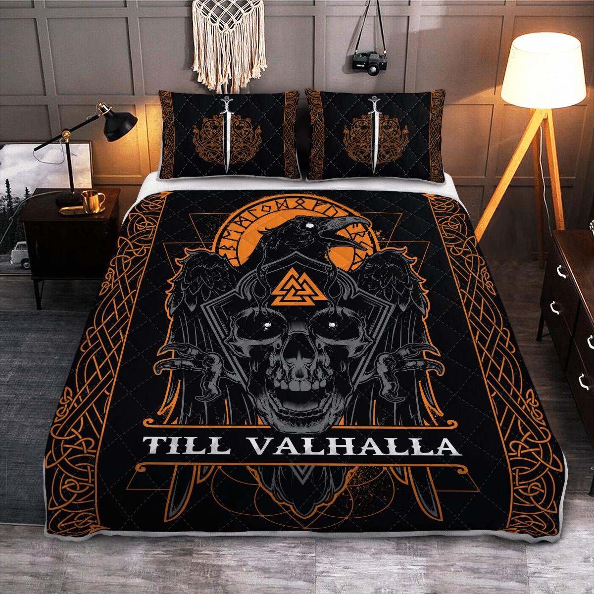 Viking Raven Till Valhalla Quilt Bedding Set