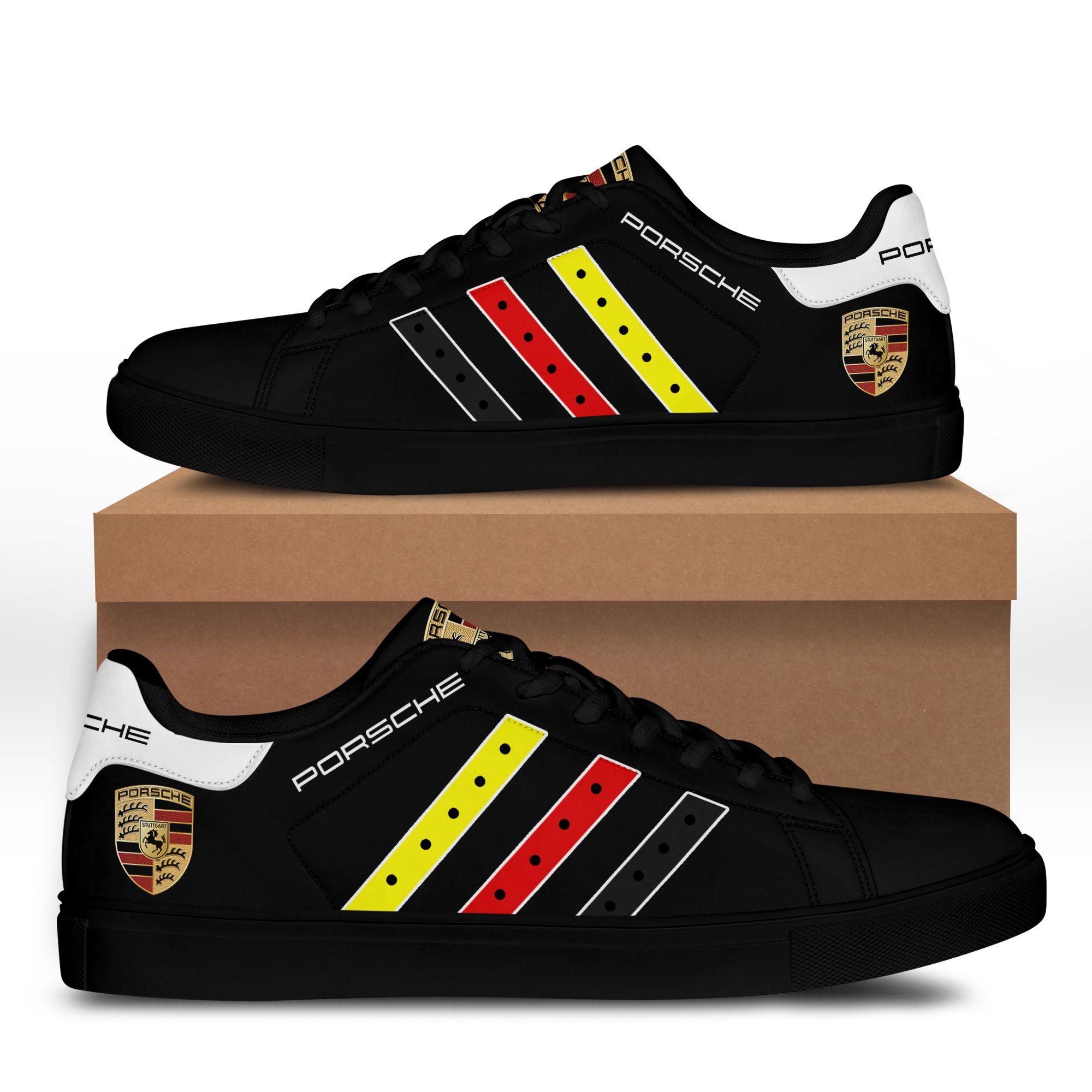 Porsche Color Stripe Line Black Stan Smith Shoes