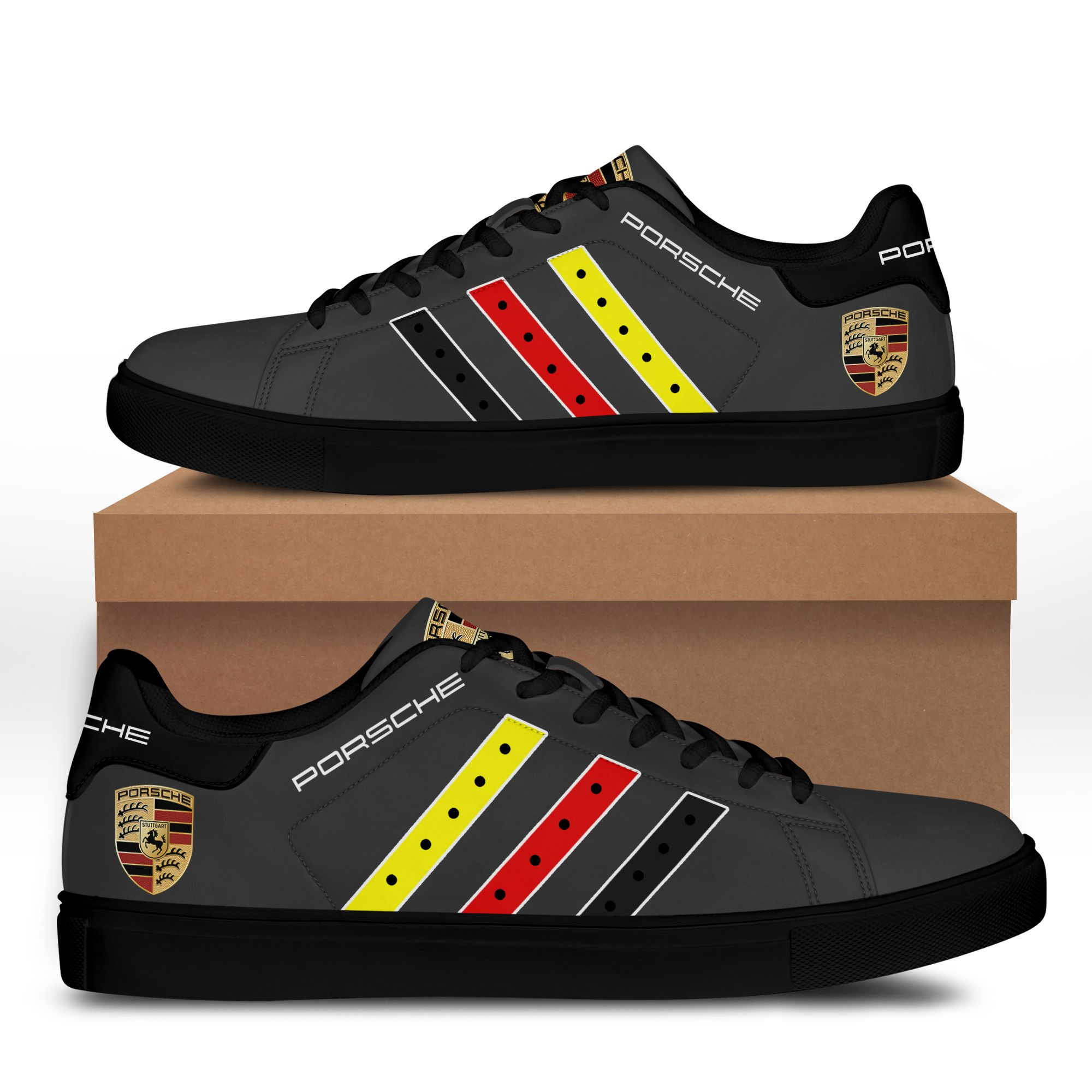 Porsche Color Stripe Line Dark Grey Stan Smith Shoes