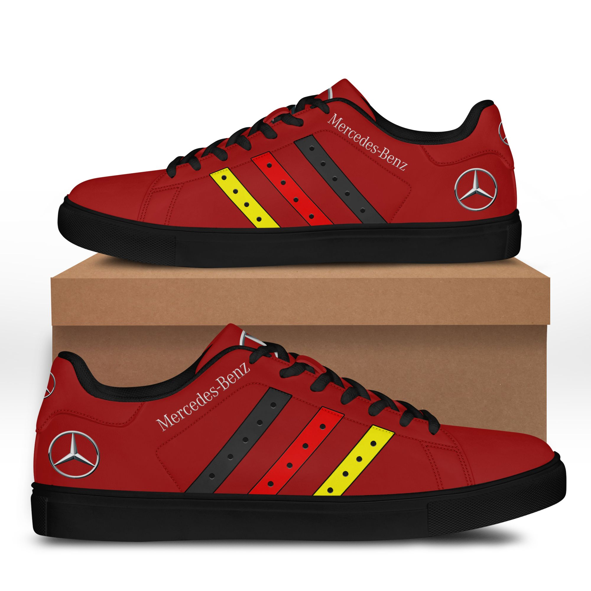 Mercedes Benz Light Red Stan Smith Shoes