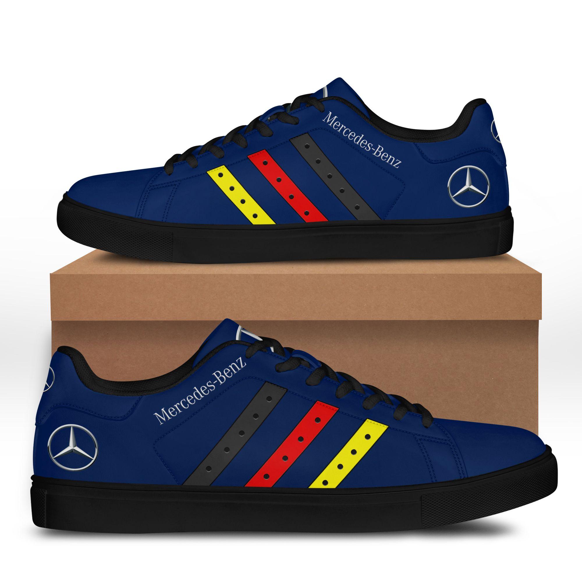 Mercedes Benz Stripe Lines Blue Stan Smith Shoes