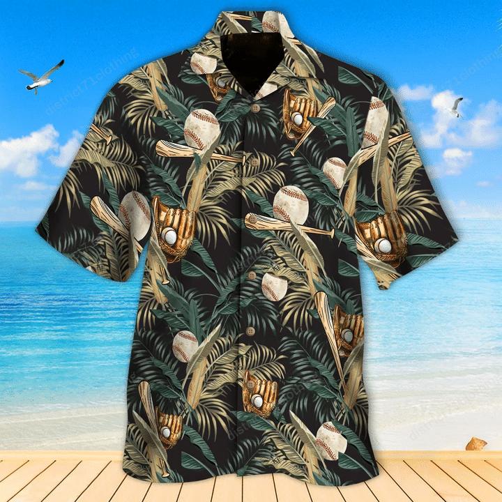 Baseball Tropical Green Hawaiian Shirt