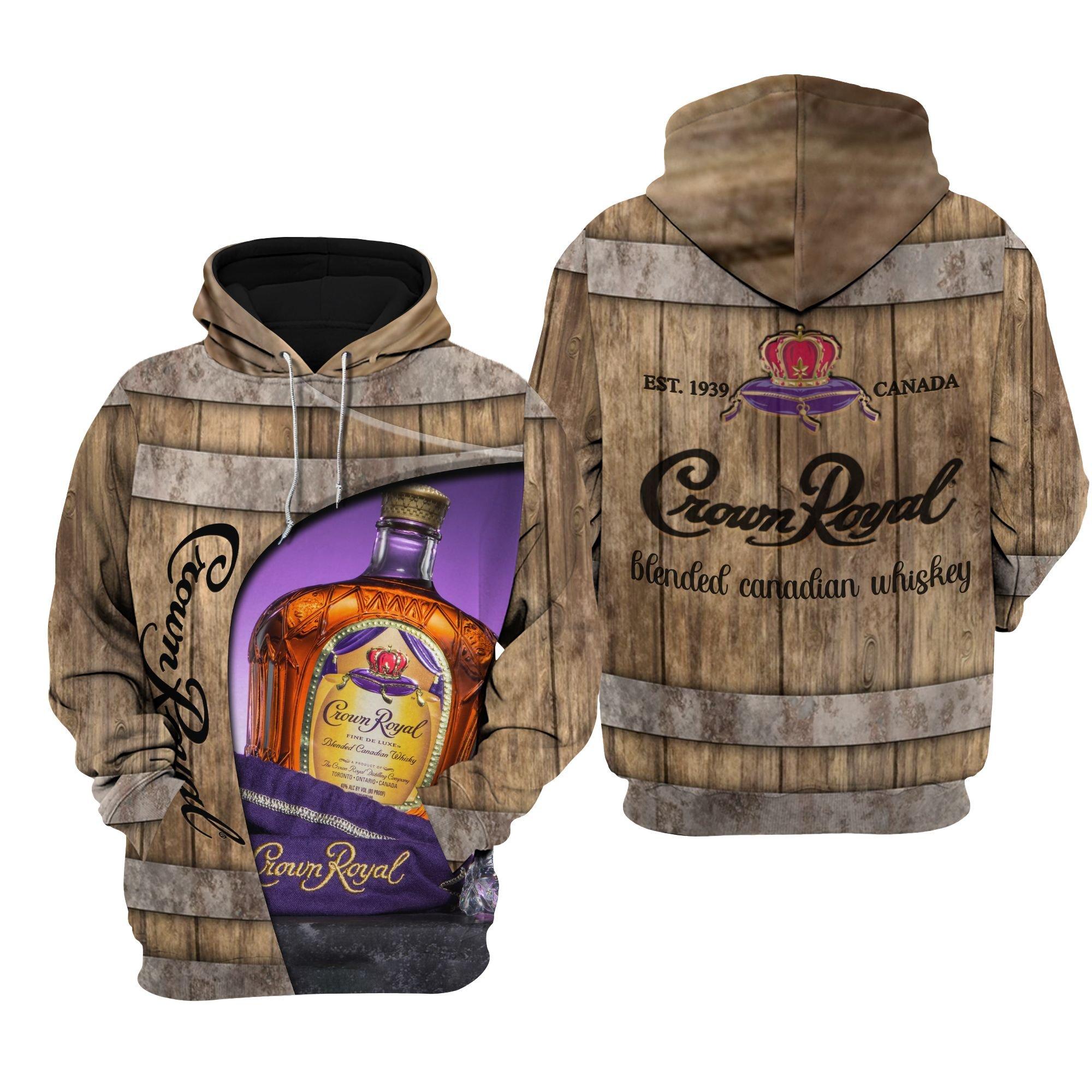 Crown Royal Blended canadian whiskey 3D Hoodie