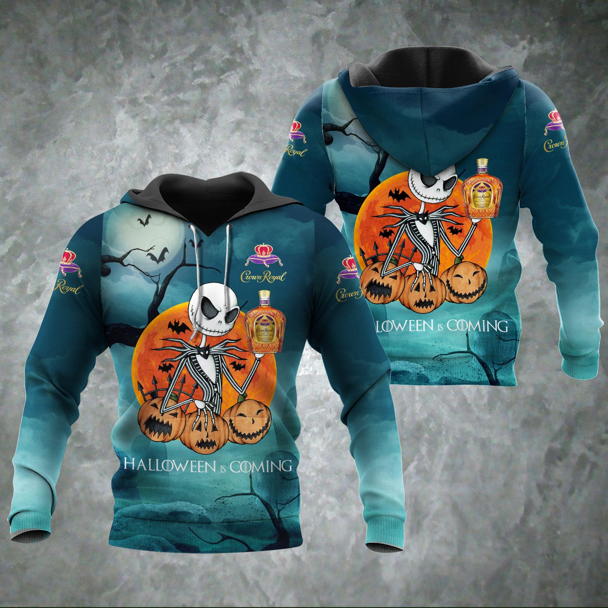 Halloween Coming Jack Skellington Crown Royal 3D hoodie
