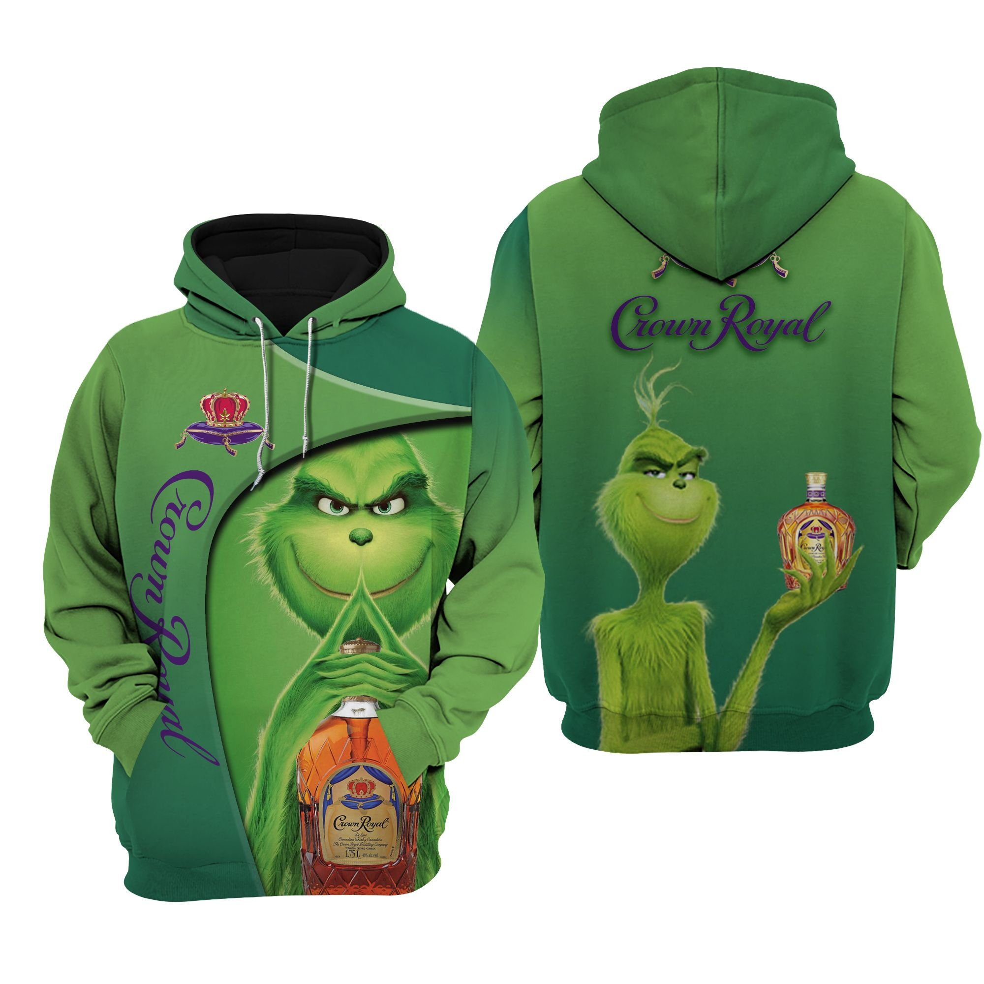 Grinch Crown Royal All Over Printed 3D Hoodie