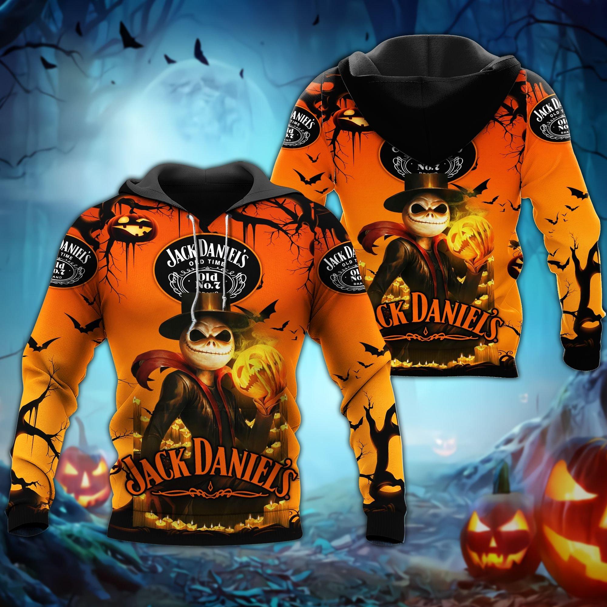 Jack Daniels Skellington Halloween 3D Hoodie