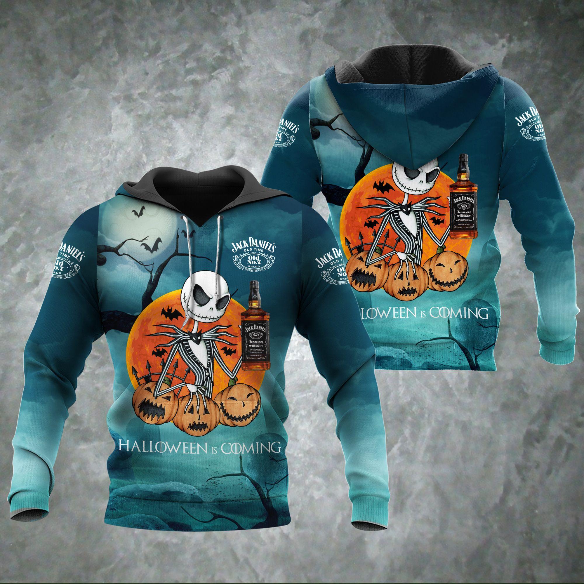 Halloween Coming Jack Skellington Jack Daniels 3D hoodie