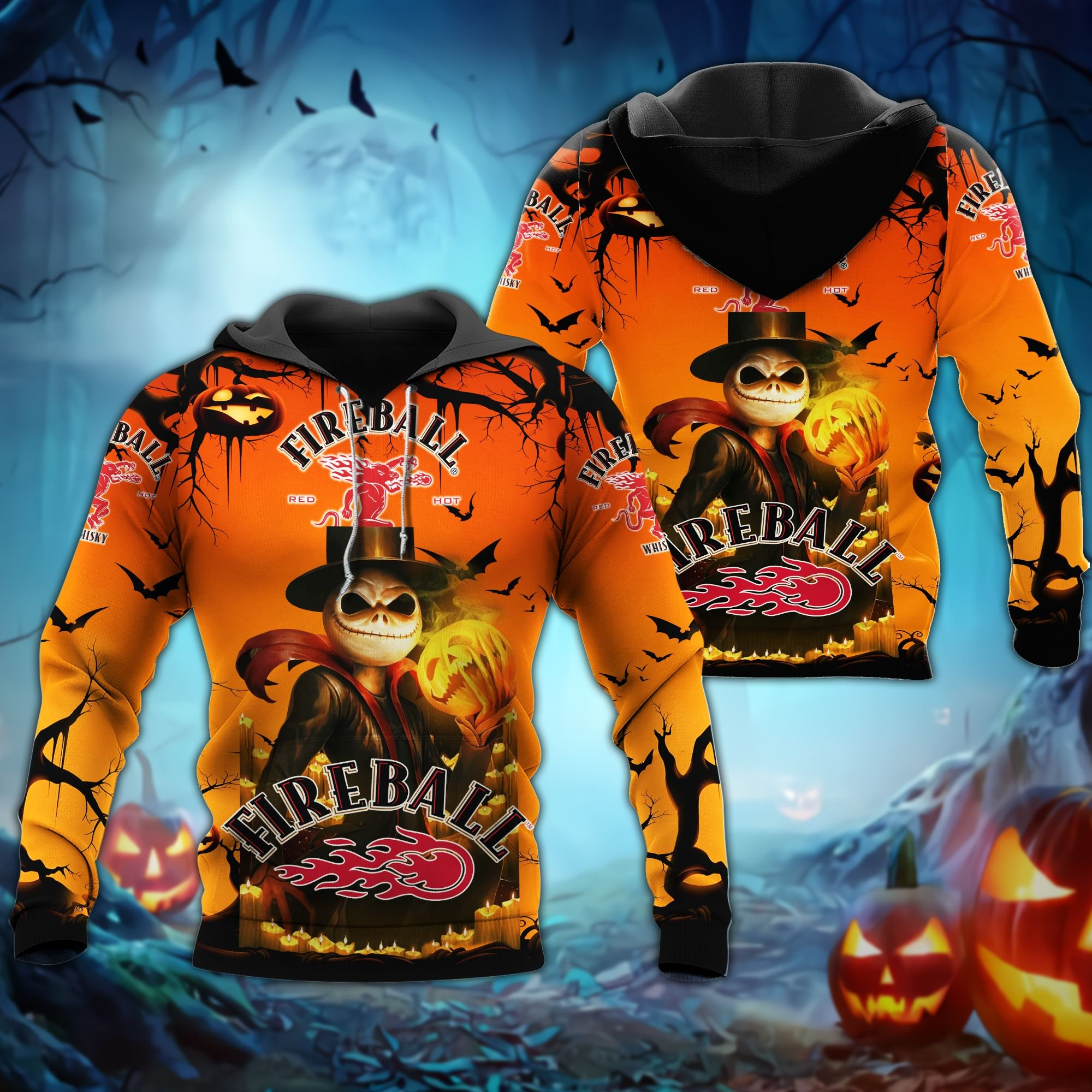 Fireball whiskey Jack Skellington Halloween 3D Hoodie