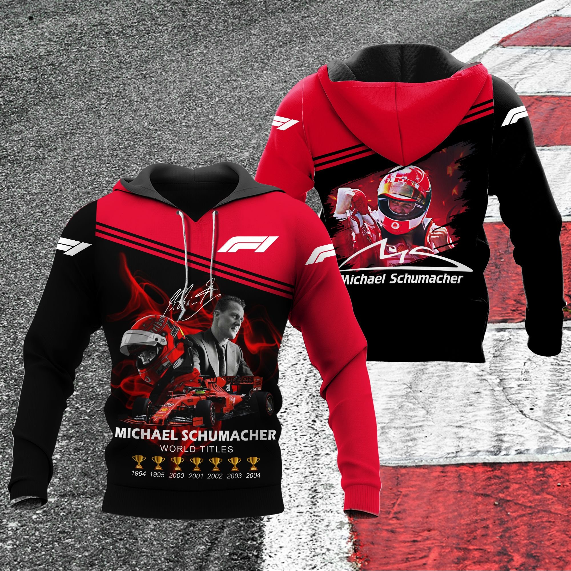 Michael schumacher champion F1 racing 3D hoodie