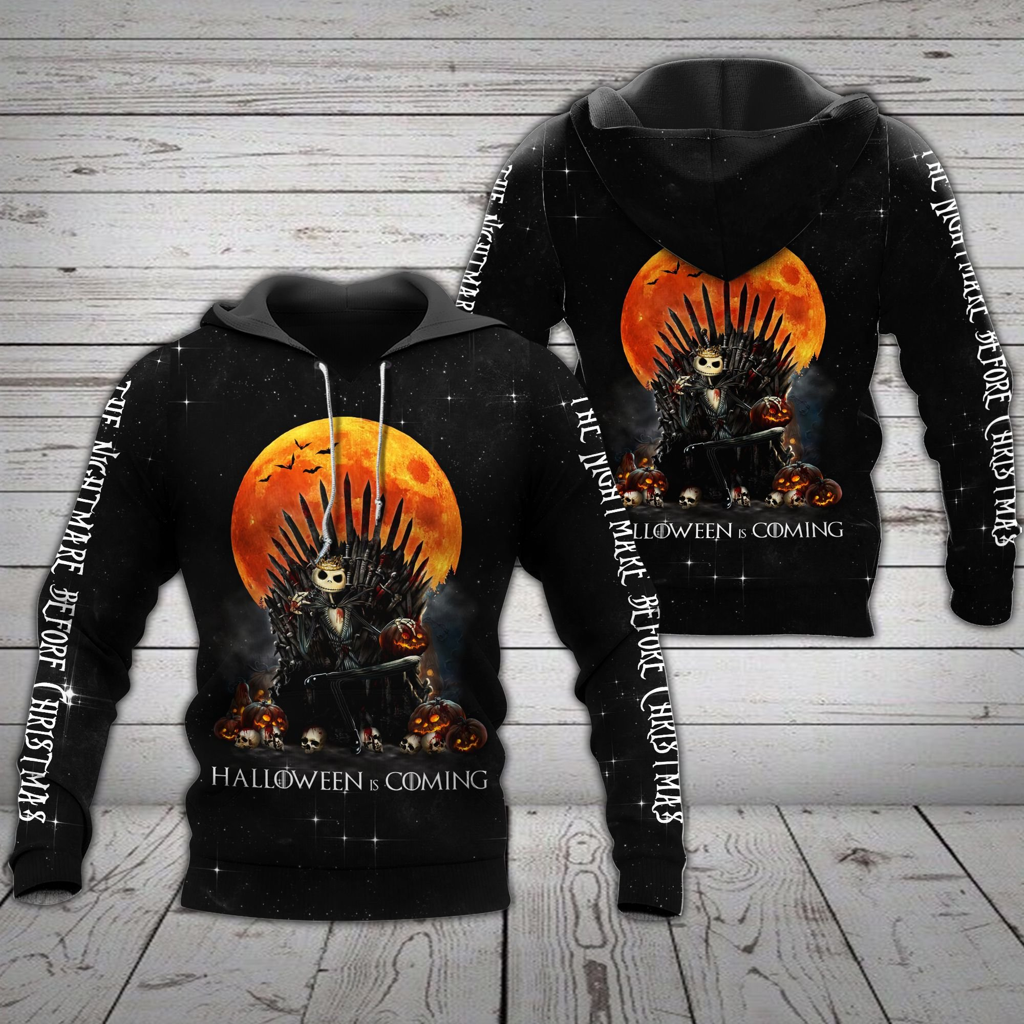 Halloween coming Skellington Iron Throne 3D hoodie