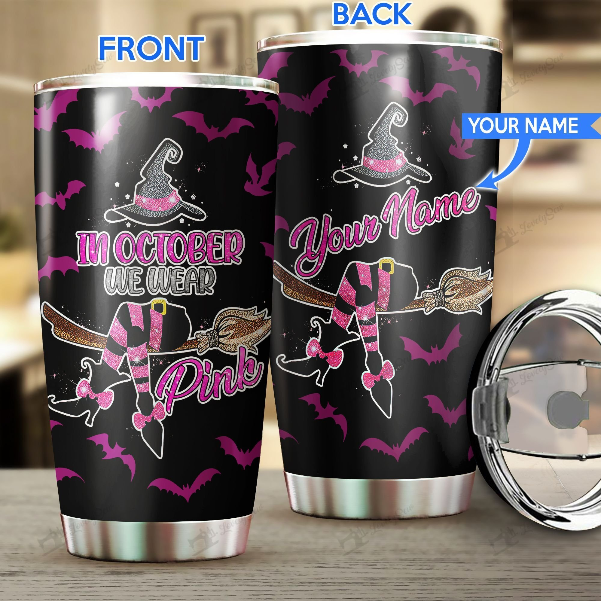 Witch Wear Pink in October Personalized Stainless Steel Tumbler