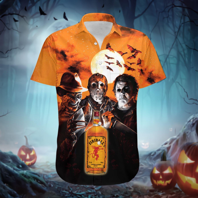 Halloween Fireball Whiskey horror characters Hawaiian Shirt