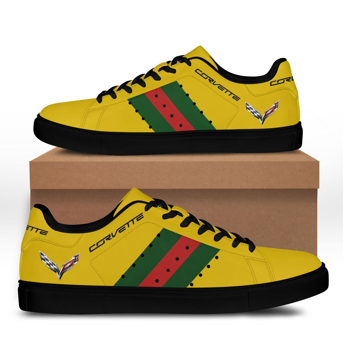 Chevrolet Corvette Green red lines Yellow Stan Smith Shoes