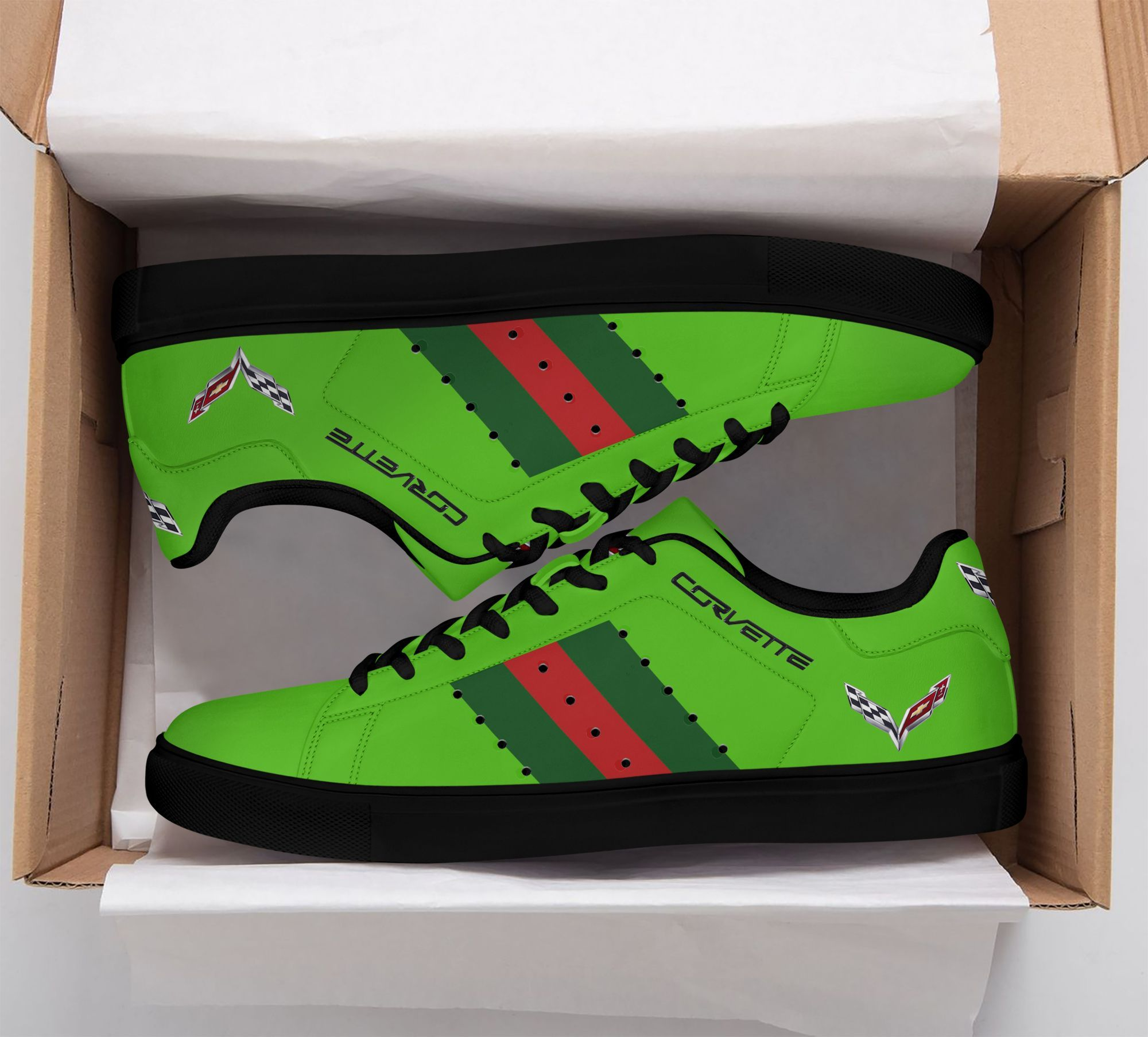 Chevrolet Corvette Green red lines Green Stan Smith Shoes