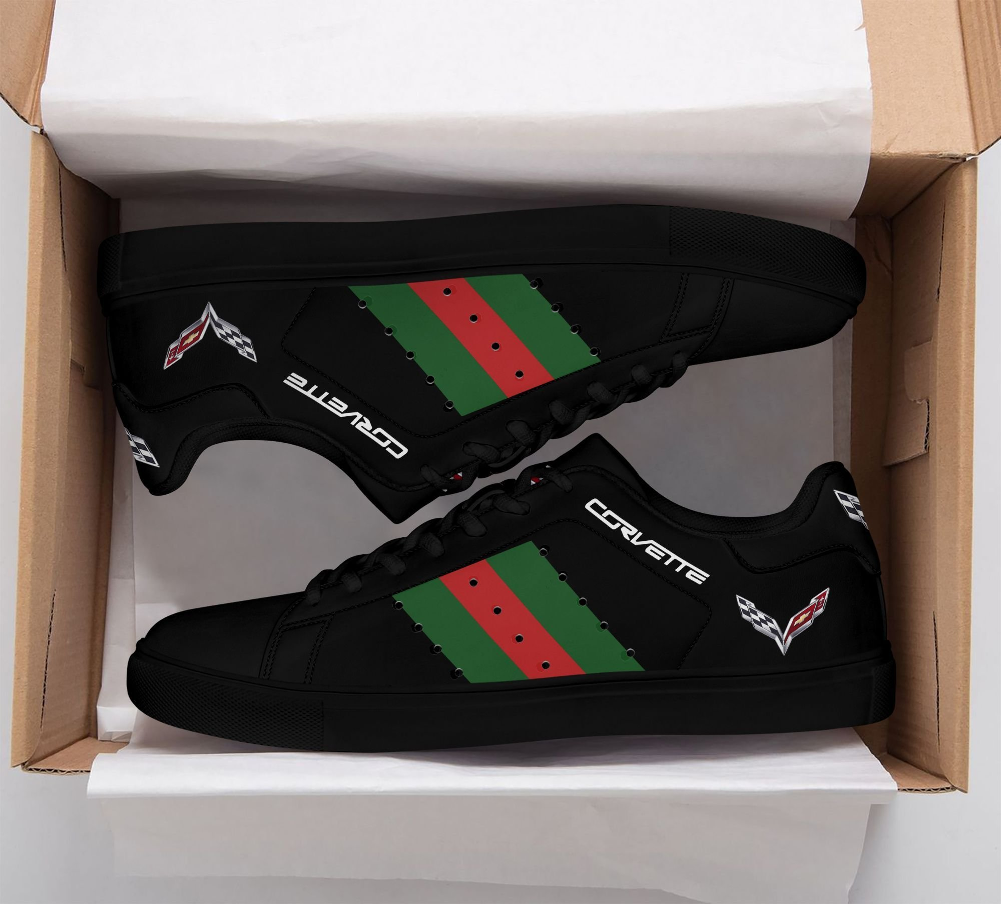 Chevrolet Corvette Green red lines Black Stan Smith Shoes
