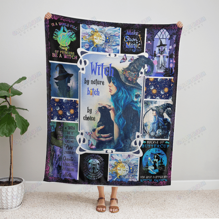 Happy Halloween Witch by nature bitch by choice Fleece Blanket