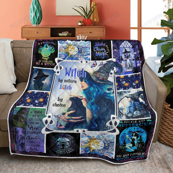 Happy Halloween Witch by nature bitch by choice Quilt Blanket