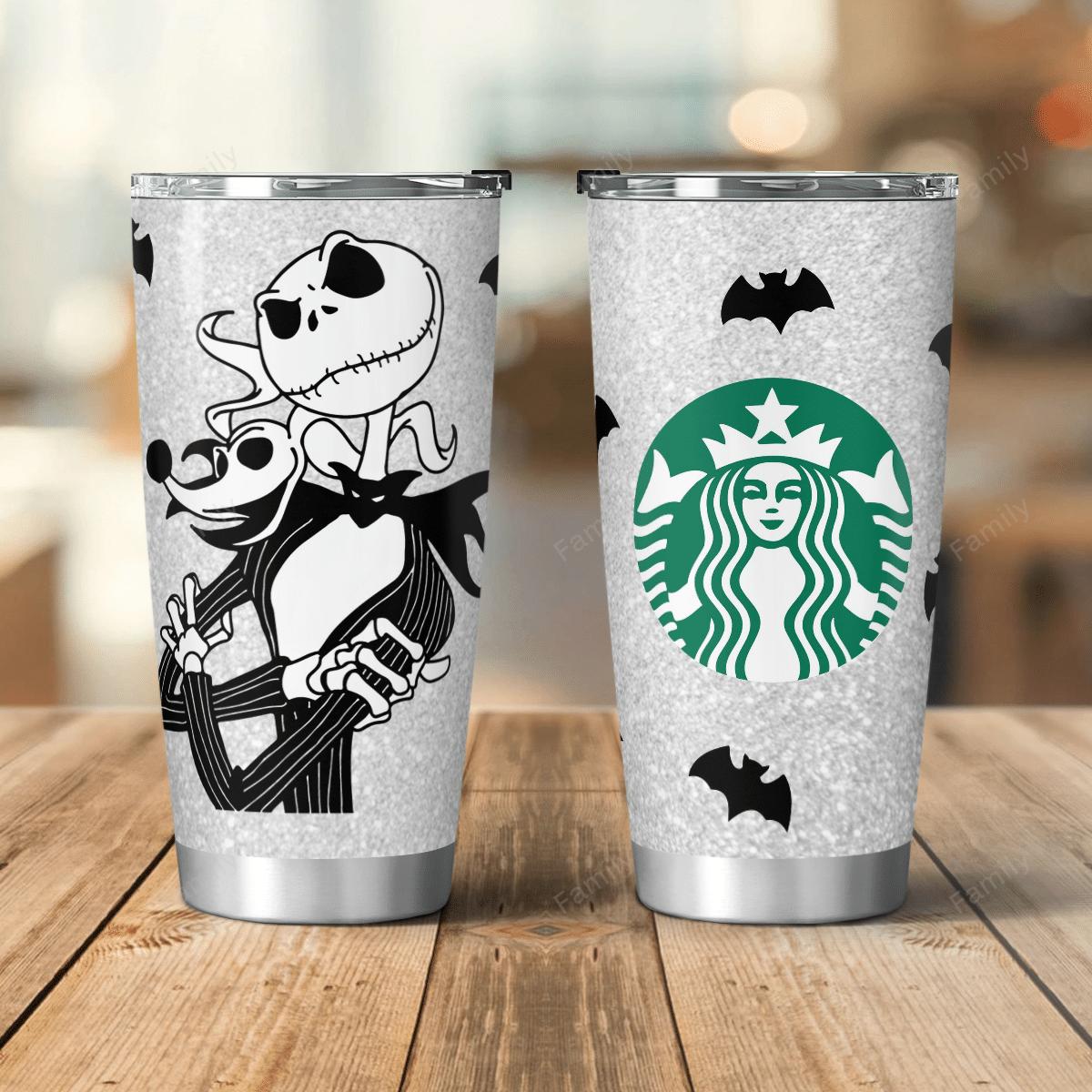 The Nightmare Jack Skellington Starbuck Coffee Silver Tumbler
