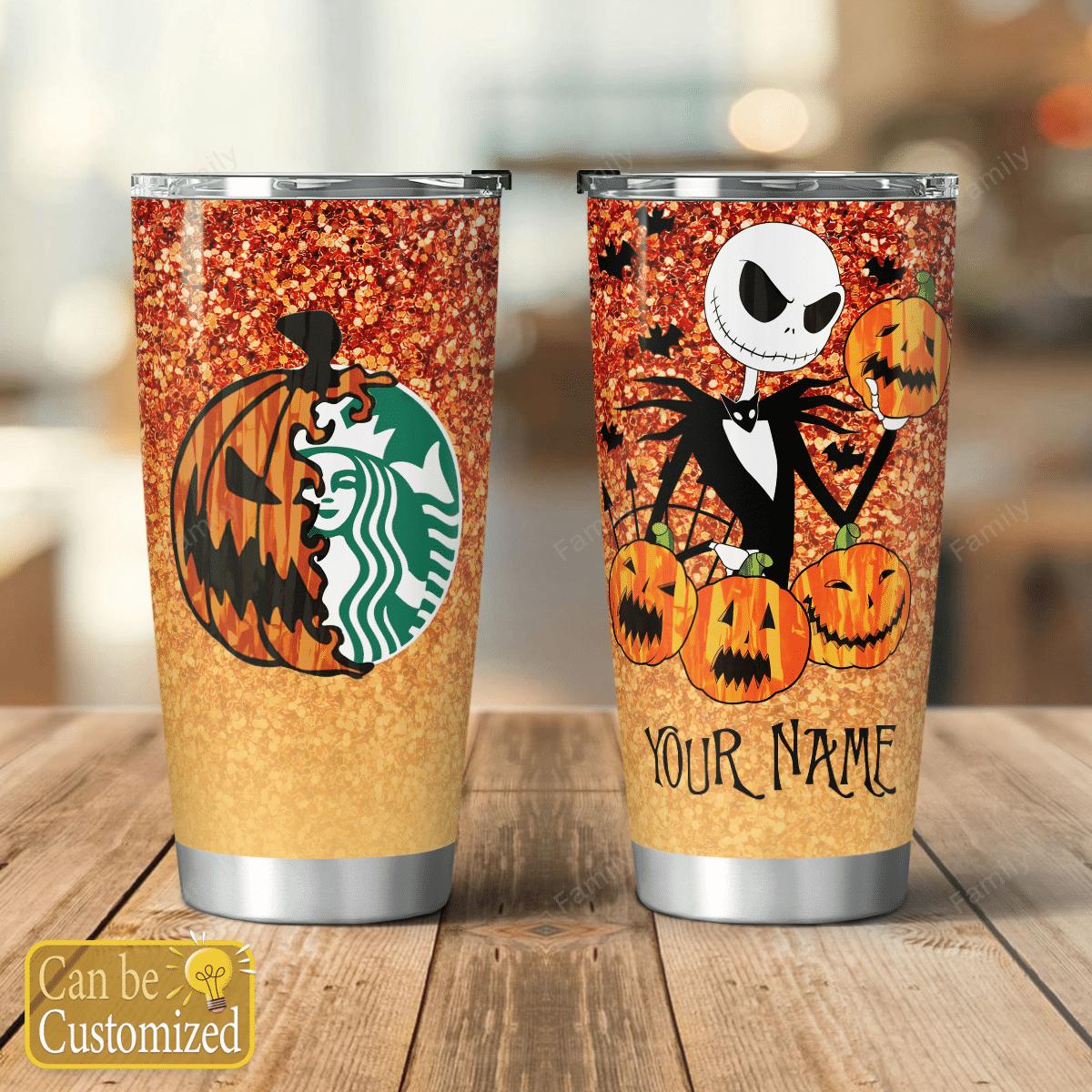 Personalized Nightmare Pumpkin Starbuck Halloween Glitter Tumbler