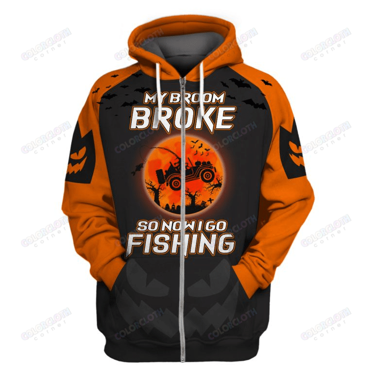 Personalized My Broom Broke Witch Goes Fishing 3D Halloween hoodie T-shirt