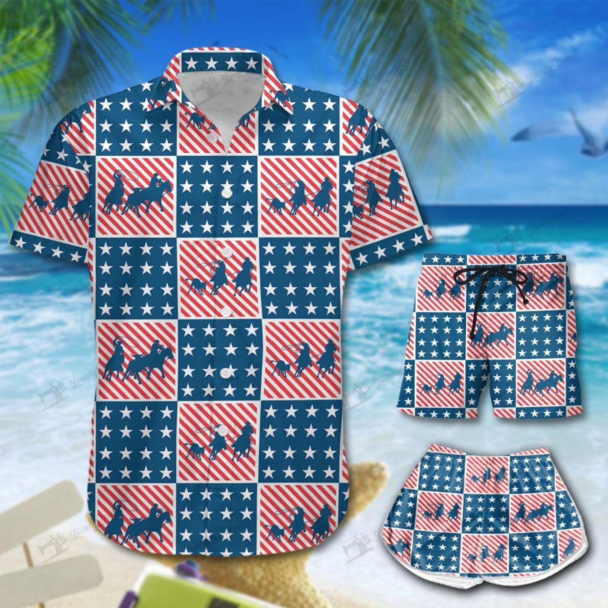 America cowboys Team Roping Hawaiian Shirt and Shorts