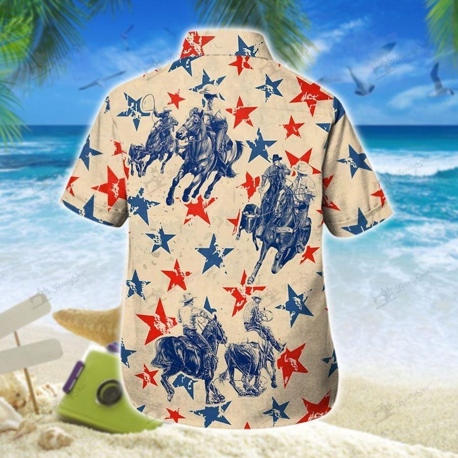 America stars Team Roping Hawaiian Shirt and Shorts