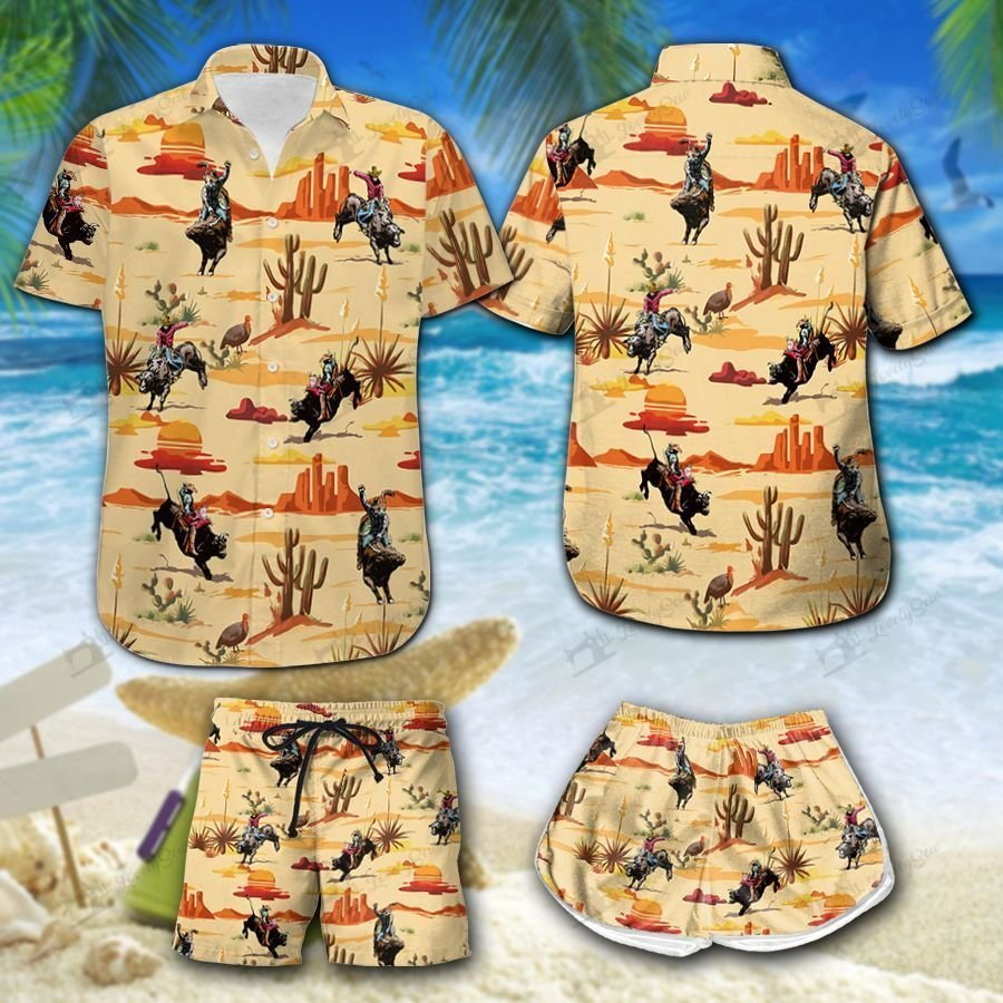 Bull riding desert Hawaiian Hawaiian Shirt and Shorts