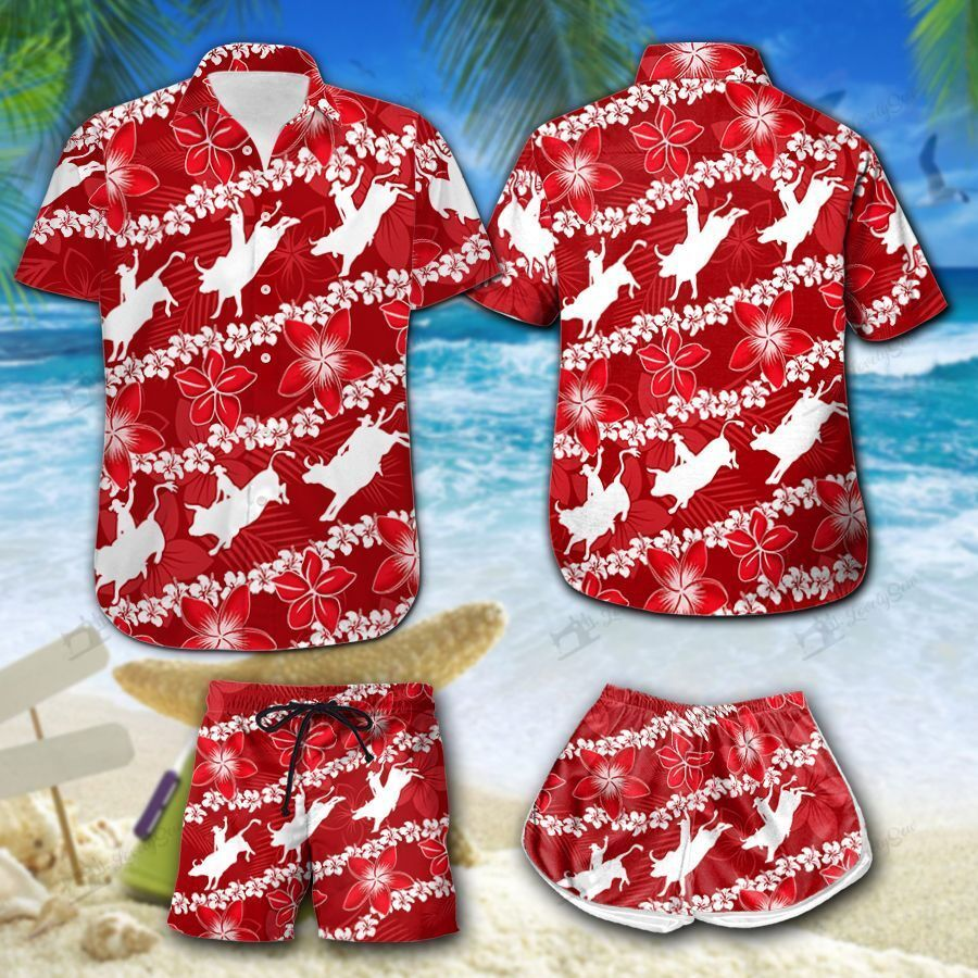 Bull Riding red flower Hawaiian Shirt Men-Women Shorts