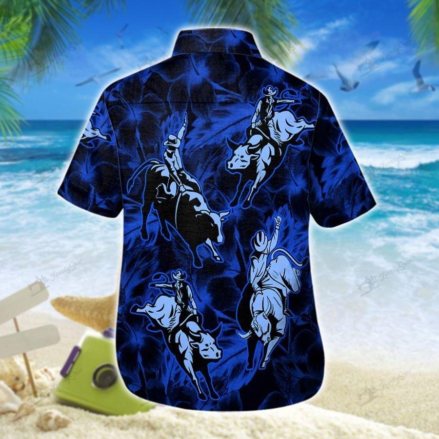 Bull Riding dark tone Hawaiian Shirt and Shorts