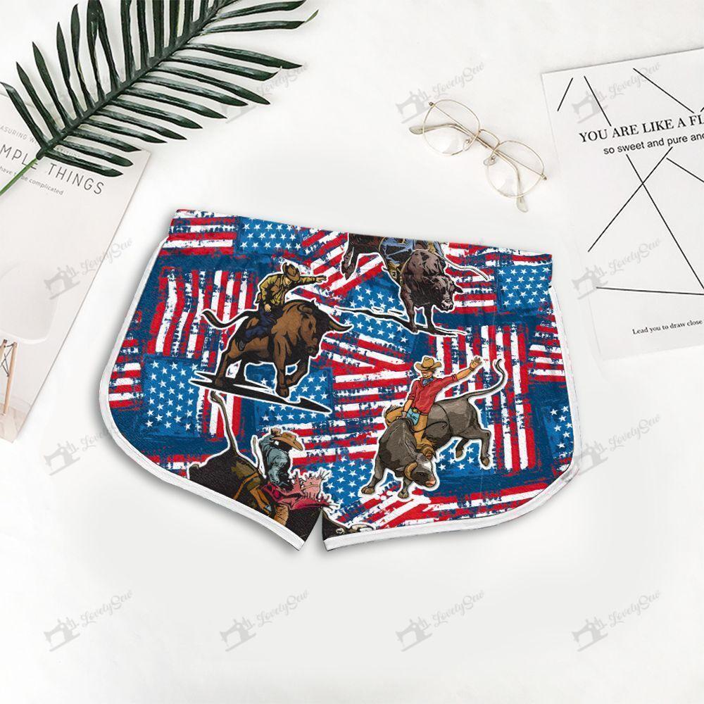 Bull Riding American Flag Hawaiian Shirt and Men-Women Shorts